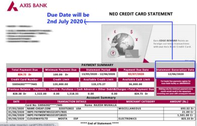 Axis Credit Card Statement